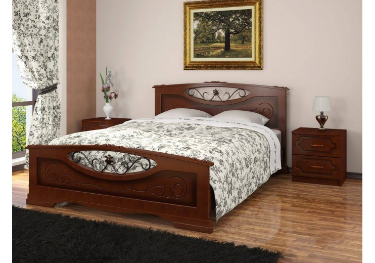 Кровать деревянная Елена-5 орех БО