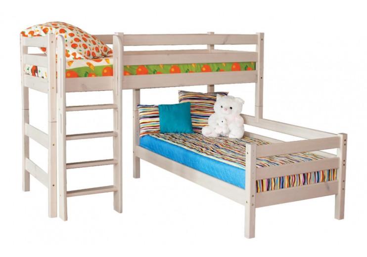 Детская кровать Соня Вариант 7 Угловая с прямой лестницей