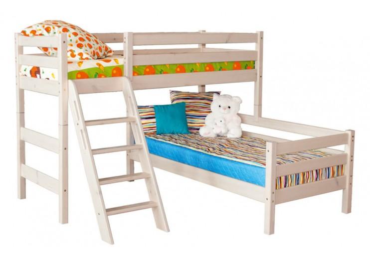 Детская кровать Соня Вариант 8 Угловая с наклонной лестницей