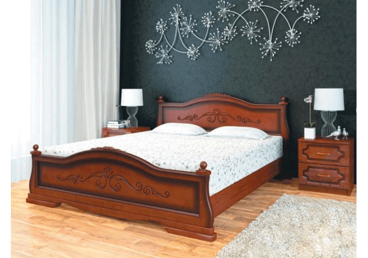 Кровать деревянная Карина-1 орех БО
