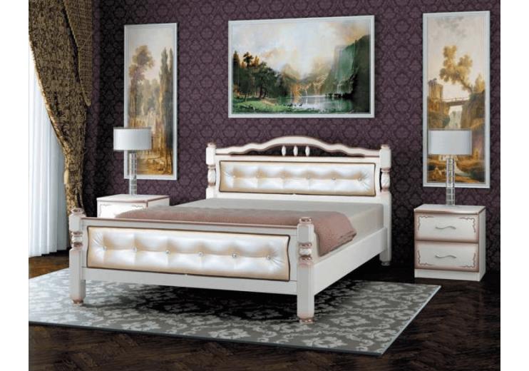 Кровать деревянная Карина-11 дуб молочный, светлая экокожа БО