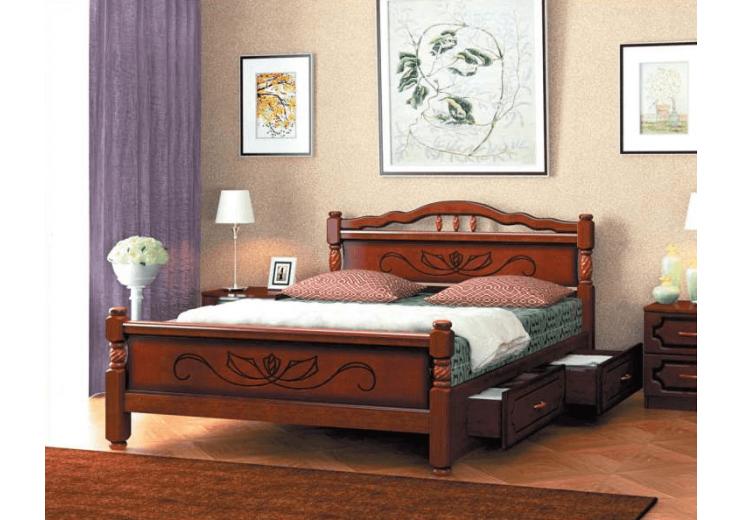 Кровать деревянная Карина-5 орех БО с ящиками