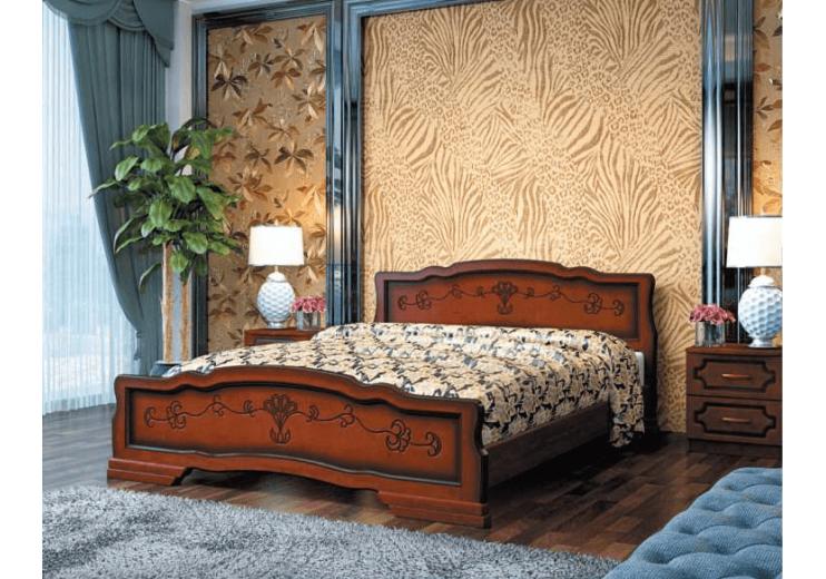 Кровать деревянная Карина-6 орех БО