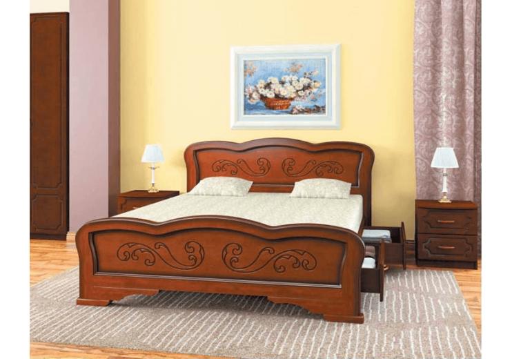 Кровать деревянная Карина-8 орех БО с ящиками