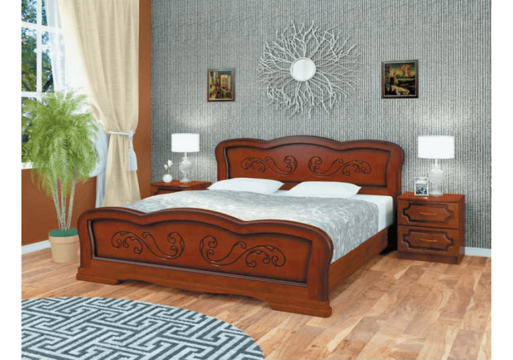 Кровать деревянная Карина-8 орех БО