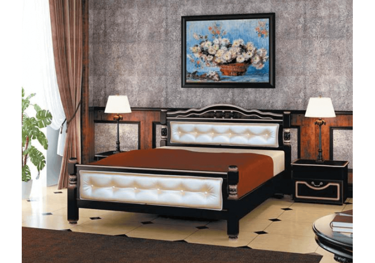 Кровать деревянная Карина-11 орех тёмный, светлая экокожа БО
