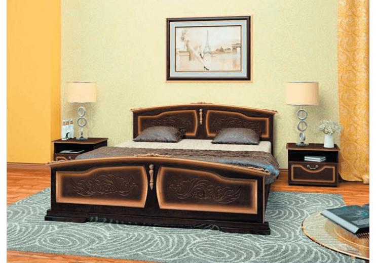 Кровать деревянная Елена ( орех тёмный) БО