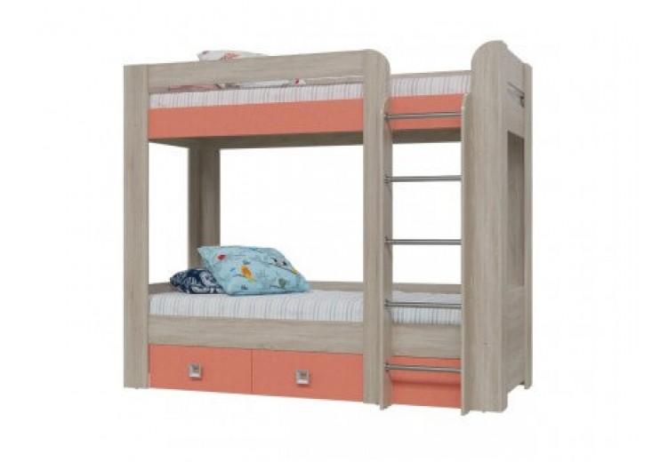Кровать 2-х ярусная с двумя ящиками молодежная Сити (Коралл)