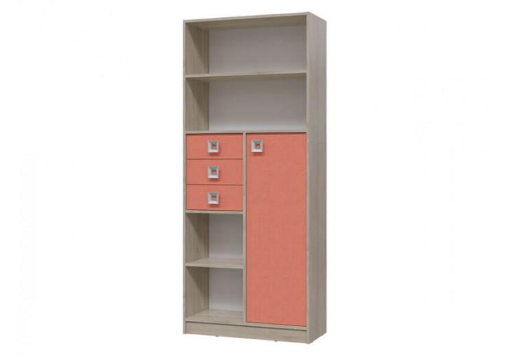 Шкаф стеллаж с дверкой и ящиками Сити (Коралл)