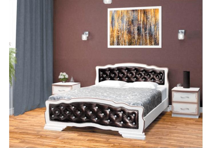 Кровать деревянная Карина-10 (дуб молочный, экокожа тёмная ) БО