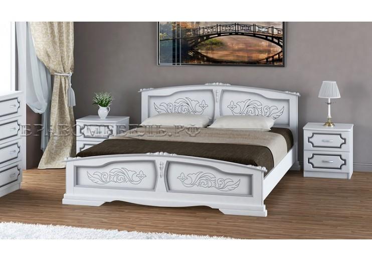 Кровать деревянная Елена (белый жемчуг) БО