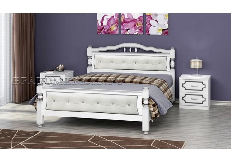 Кровать деревянная Карина 11 (белый жемчуг) БО