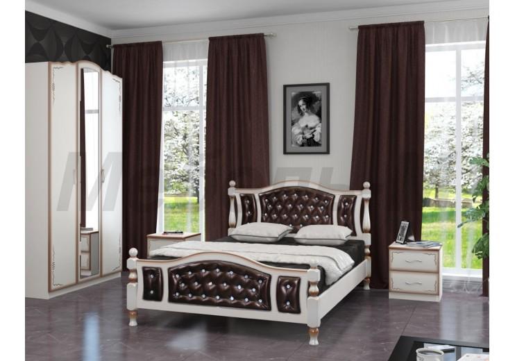 Кровать деревянная Жасмин (дуб молочный /темная экокожа)
