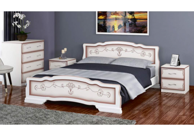 Кровать деревянная Карина-6 (дуб молочный) БО
