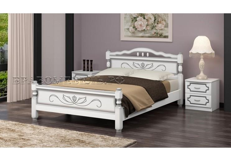 Кровать деревянная Карина-5 (белый жемчуг) БО