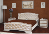 Кровать деревянная Карина-10 (дуб молочный, светлая экокожа) БО