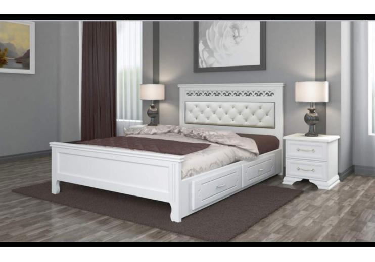 Кровать деревянная Грация с ящиками (белый античный) БО