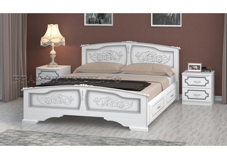 Кровать деревянная Елена с ящиками (белый жемчуг)