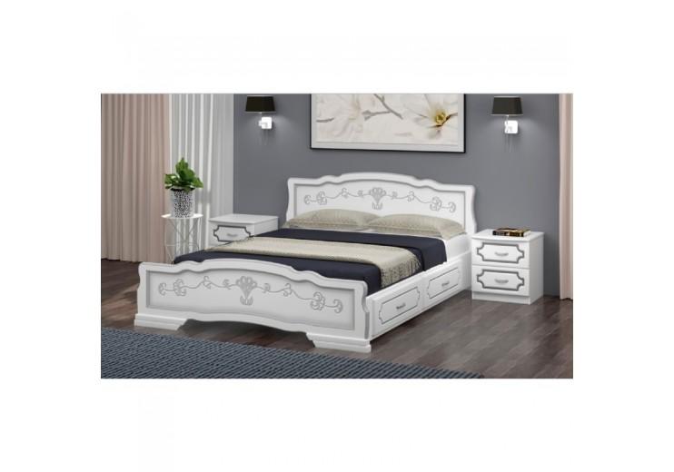 Кровать деревянная Карина-6 с ящиками (белый жемчуг)