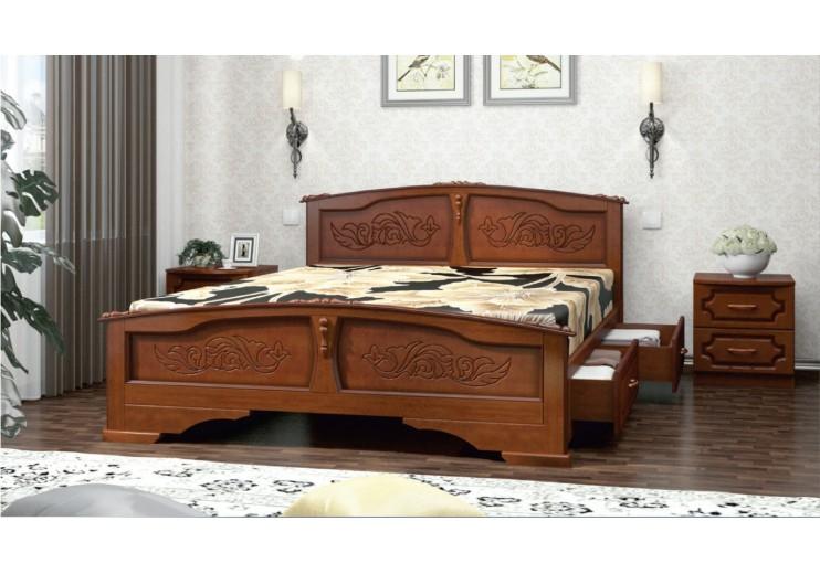 Кровать деревянная Елена с ящиками (орех)