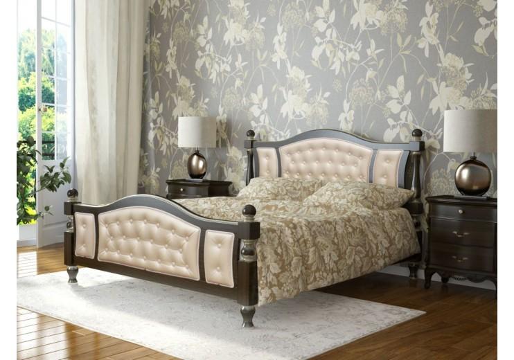 Кровать деревянная Жасмин орех тёмный/светлая экокожа