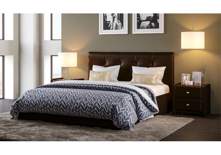 Кровать Женева  Teos (dark brown), Д:пуговицы с подъемным механизмом