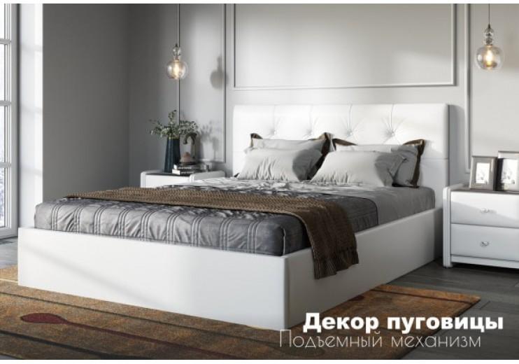 Кровать Женева  Teos (white), Д:пуговицыс подъемным механизмом