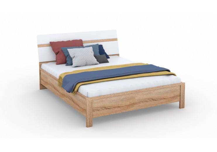 Кровать Дакота 160 с подъемным механизмом Дуб сонома/Белый глянец